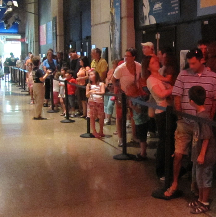 Line of People Waiting for Star Wars Exhibit