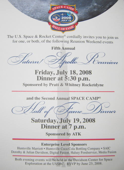 Space Camp Hall of Fame 2008 Invitation