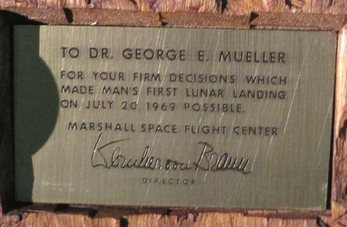 Plaque on Wood Carving - Gift from von Braun to George Mueller