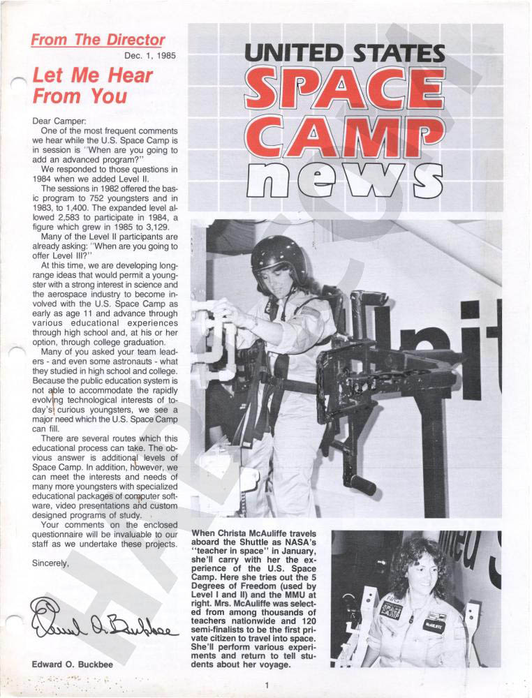 Space Camp News - Winter 1985 - Page 1
