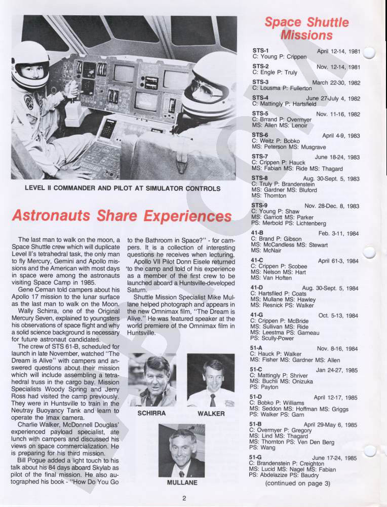 Space Camp News - Winter 1985 - Page 2