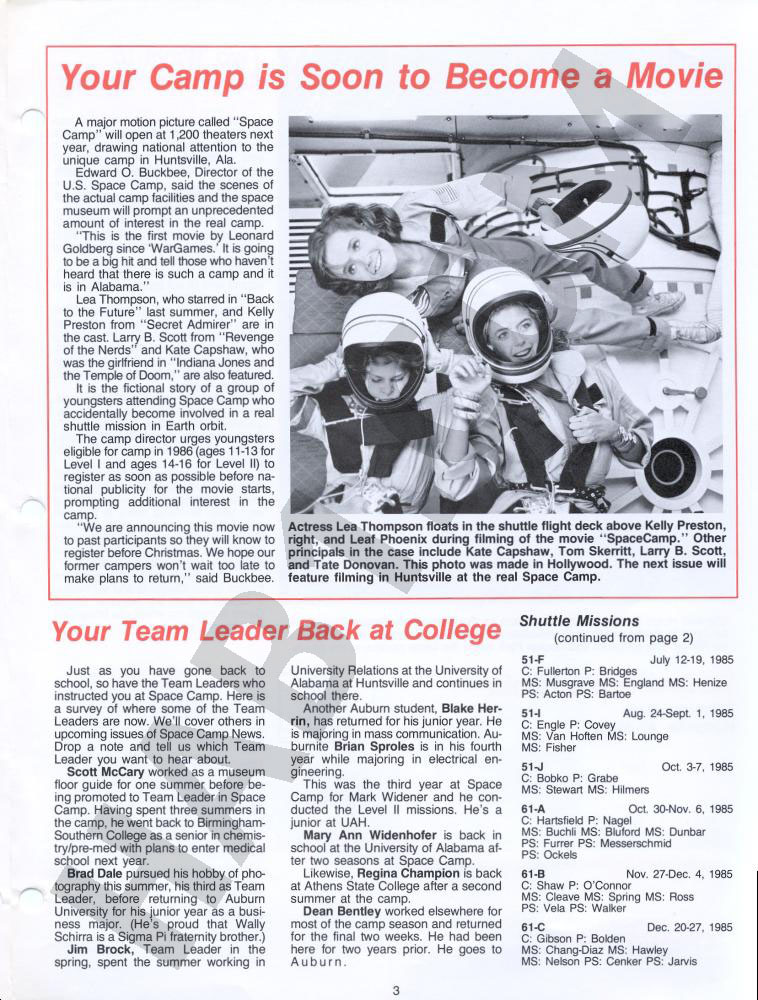 Space Camp News - Winter 1985 - Page 3