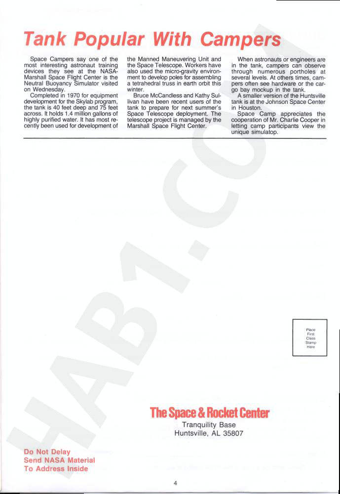 Space Camp News - Winter 1985 - Page 4