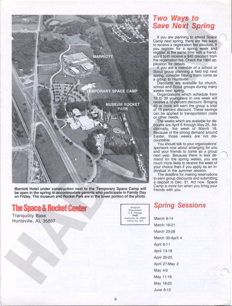 Space Camp News - Winter 1985 - Page 6
