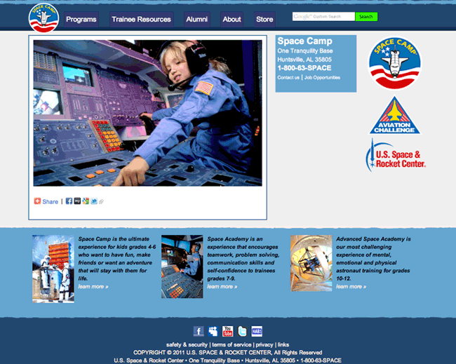 Small Screenshot of New Space Camp Website