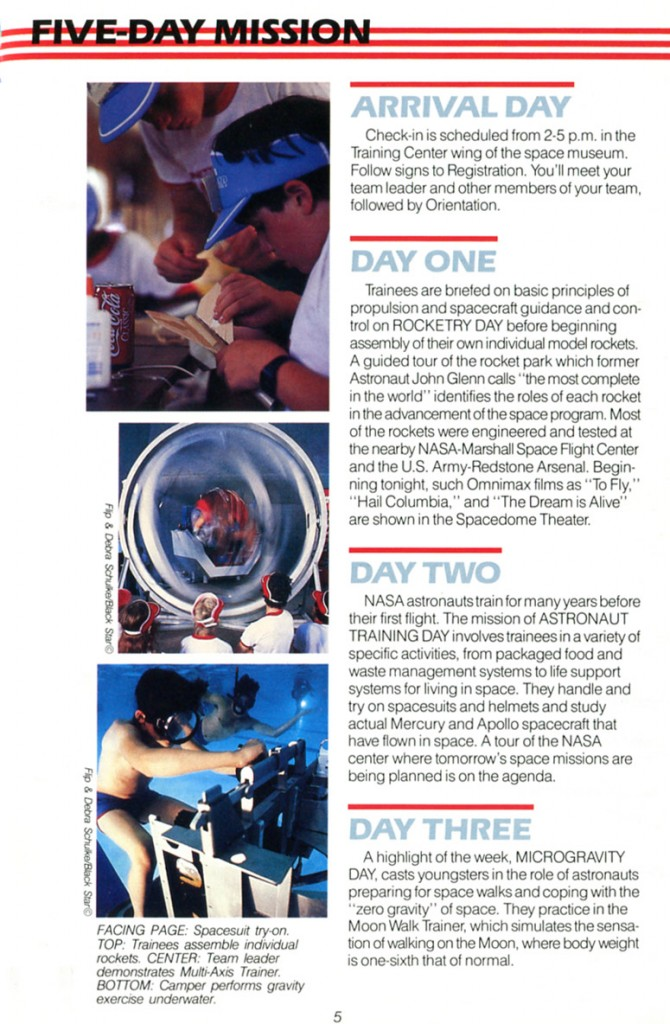 1988 Space Camp Brochure - Page 5
