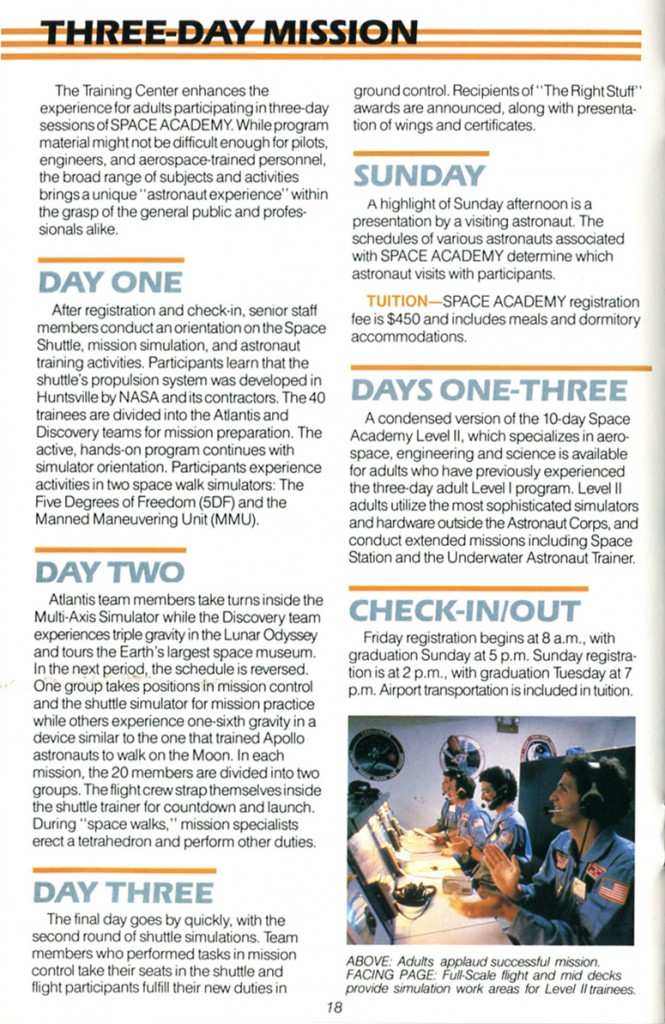 1988 Space Camp Brochure - Page 18