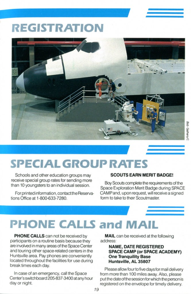 1988 Space Camp Brochure - Page 19