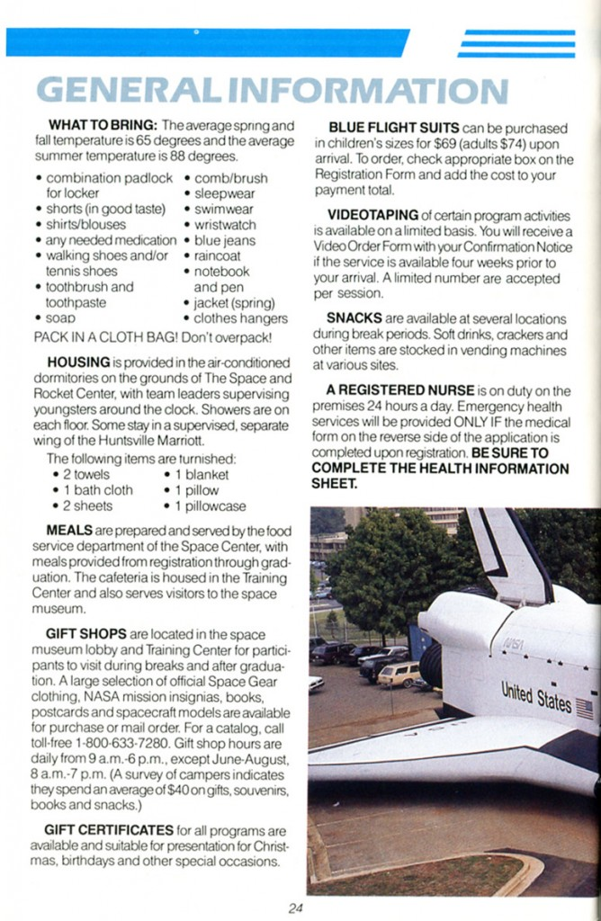 1988 Space Camp Brochure - Page 24