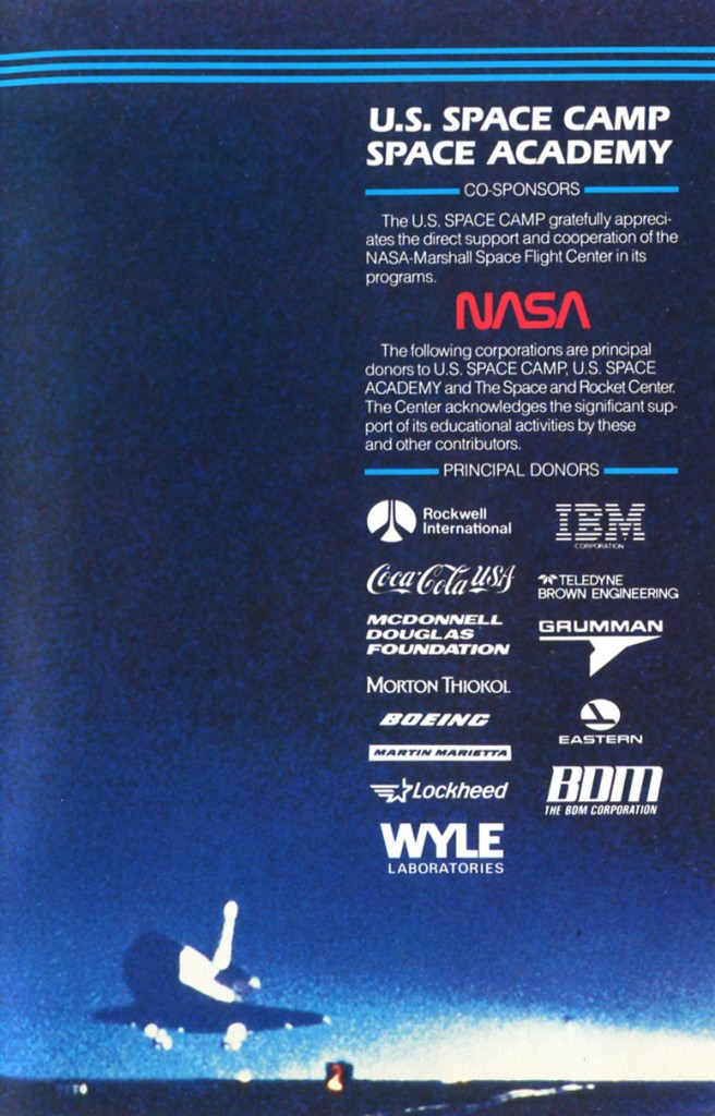 1988 Space Camp Brochure - Inside Back Cover