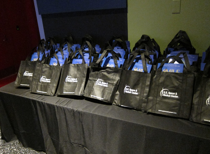 Doggie bags given out with a signed copy of the book and a DVD of the movie