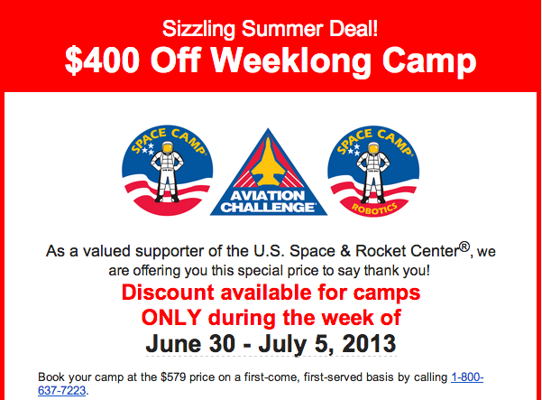 Space Camp Summer Discounts