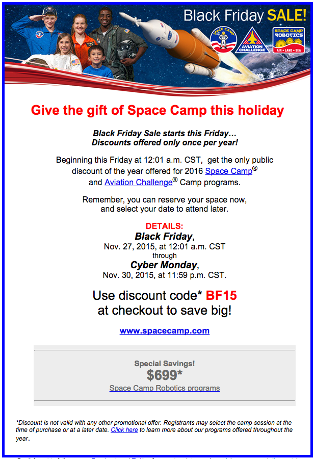 Space Camp Black Friday 2015 Discount