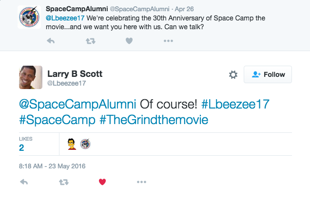 Space Camp Alumni reach out to Larry B Scott on Twitter