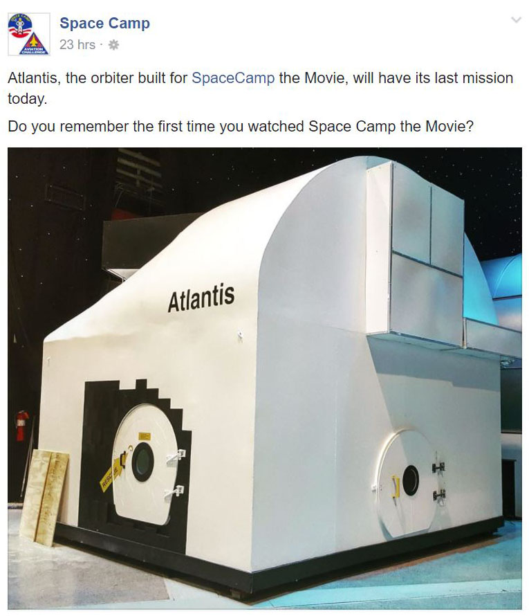 Space Camp Facebook Post - Atlantis's Last Day
